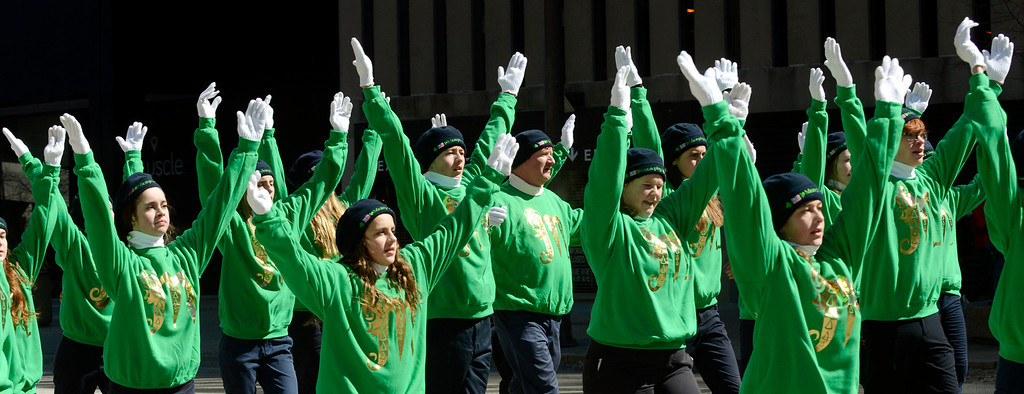 Description of . Maribeth Joeright/MJoeright@News-Herald.com Dancers from Murphy's Irish Arts Center in Cleveland take part in the 147th annual St. Patrick's Day Parade, March 17, 2014.