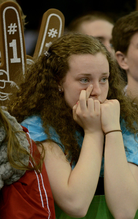 Description of . Duncan Scott/DScott@News-Herald.com VASJ junior Toni Beuck crosses her fingers as she watches the closing seconds of VASJ's  loss to Lima Central Catholic 64-62 in the Division III state championship game on March 22 in the Value City Arena in the  Schottenstein Center in Columbus.