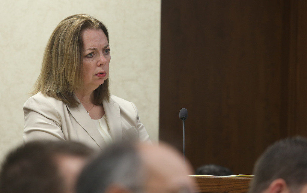 Description of . Michael Allen Blair/MBlair@News-Herald.com Prosecutor Karen Kowall questions Knoefel's foster daughter Sabrina Zunich about her sexual relationship with Kevin Knoefel during testimony in Knoefel's murder conspiracy trial in Lake County Common Pleas Court on  June 5, 2014.