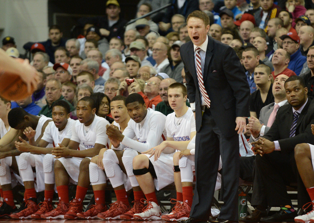 Description of . Duncan Scott/DScott@News-Herald.com VASJ coach Babe Kwasniak urges on his team in the second quarter. VASJ won the Division III state semifinal on March 21, 55-40, to advance to the state final on March 22.