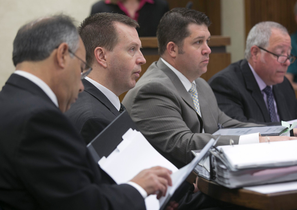 Description of . Michael Allen Blair/MBlair@News-Herald.com Kevin Knoefel, second from left, and his defense team listen to testimony on day three of Knoefel's murder conspiracy trial on June 4, 2014.
