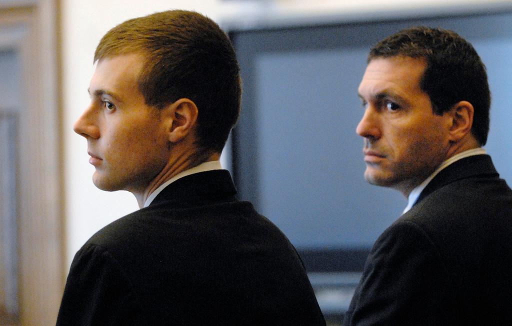 Description of . Jeff Forman/JForman@News-Herald.com Nathaniel Brown, left, and his lawyer Matthew Bangerter watch as the jury enters Lake County Common Pleas Court Feb. 21.