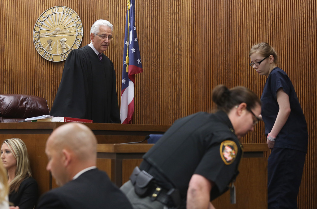 Description of . Michael Allen Blair/MBlair@News-Herald.com Foster daughter Sabrina Zunich takes the stand for the first time in Judge Joe Gibson's courtroom for testimony in Kevin Knoefel's murder conspiracy trial in Lake County Common Pleas Court on  June 5, 2014.
