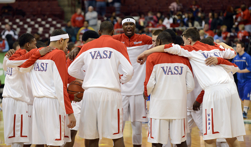 Description of . Duncan Scott/DScott@News-Herald.com VASJ Vikings come together at midcourt while warming up for their DIII state semifinal against Columbus Bishop Ready.