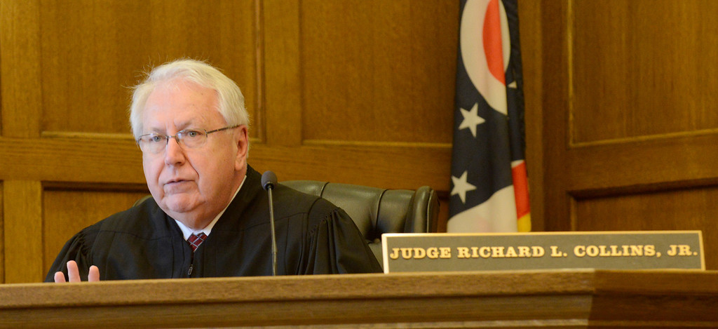 Description of . Maribeth Joeright/MJoeright@News-Herald.com Lake County Common Pleas Judge Richard L. Collins is presiding over the retrial of Nathaniel Brown in the 2011 murder case of William Andrew Fayne Putzbach.