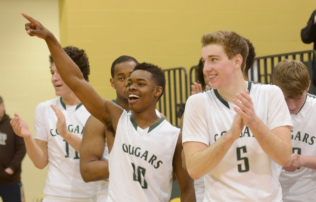 Description of . Maribeth Joeright/MJoeright@News-Herald.com<p> Members of the Lake Catholic boys basketball team, Devonte Hennings, left, and Ben Meola celebrate their victory over Chagrin Falls in the Division II district final game, March 8, 2014.