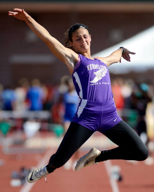 Description of . Maribeth Joeright/MJoeright@News-Herald.com <p> Vermillion's Hannah Bartlome wins the runner-up title in the Division II girls long jump during the  state track and field championship meet in Columbus,  June 7, 2014.