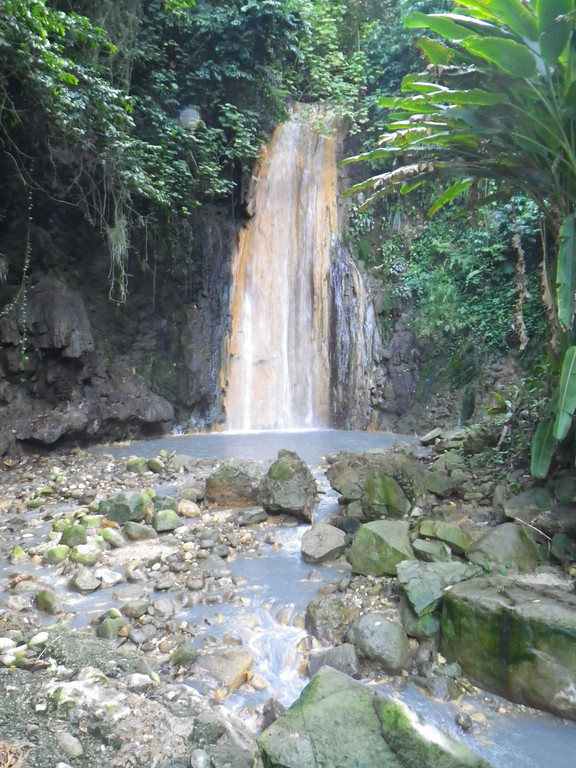 Description of . Janet Podolak/JPodolak@News-Herald.com<p> One of several walk-to waterfalls on St. Lucia, Diamond Falls draws its water from the volcano a few miles away. Its colors vary with the dominating minerals in the water.