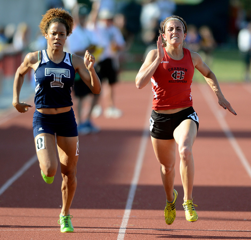 Description of . Maribeth Joeright/MJoeright@News-Herald.com <p> Lorain's Jocelynn Rogers and Chardon's Stephanie Ferrante battle for fifth place in the Division I girls 200 meter dash during the state track and field championship meet in Columbus, June 7, 2014. Ferrante took fifth and Rogers took sixth.
