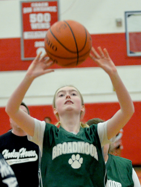 Description of . Jeff Forman/JForman@News-Herald.com  Abbey Reed takes a shot during Broadmoor School's game against area high school coaches March 24 at Mentor High School.