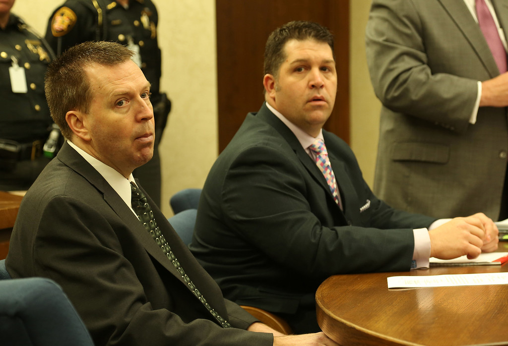Description of . Michael Allen Blair/MBlair@News-Herald.com Kevin Knoefel and his attorney Gary Vick Jr.listen in during testimony for Knoefel's conspiracy trial in Lake County Common Pleas Court on  June 2, 2014.