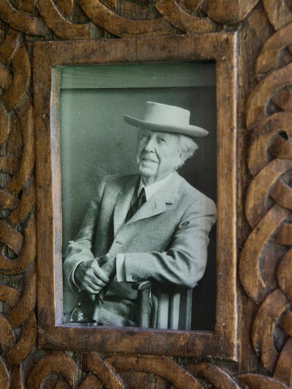 Description of . Duncan Scott/DScott@News-Herald.com A portrait of architect Frank Lloyd Wright inside the Louis Penfield House in Willoughby Hills.
