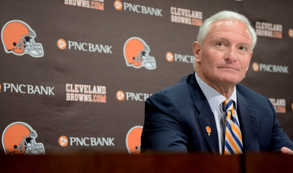 Description of . Duncan Scott/DScott@News-Herald.com Browns owner Jimmy Haslam listens to a question Tuesday at a press conference about the shakeup of the team's front office.