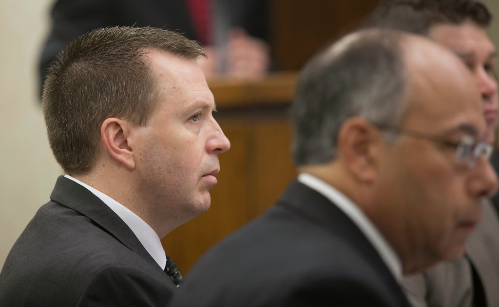 Description of . Michael Allen Blair/MBlair@News-Herald.com Kevin Knoefel, left, listens to testimony along with defense attorney Dennis N. LoConti on day three of Knoefel's murder conspiracy trial on June 4, 2014.