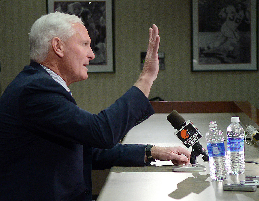 Description of . Duncan Scott/DScott@News-Herald.com Browns owner Jimmy Haslam answers question Tuesday at a press conference about the shakeup of the team's front office.