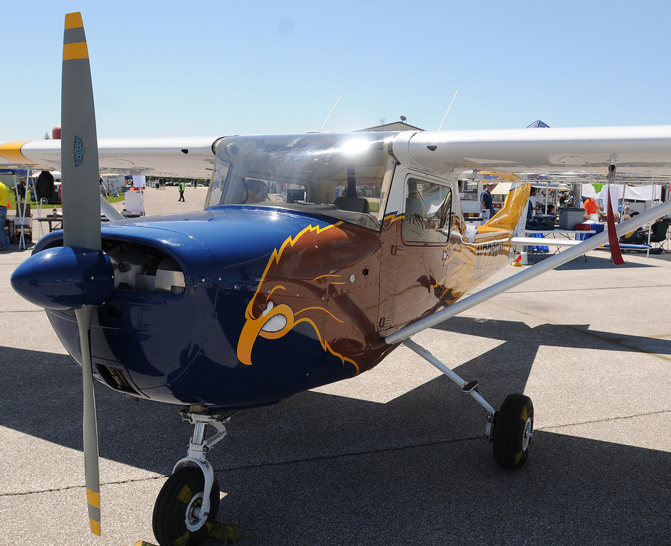 Description of . Jim Bobel/JBobel@MorningJournal.com Kent States Cessna 150 was on display at the Discover Aviation Air Show at the Lorain County Regional Airport.