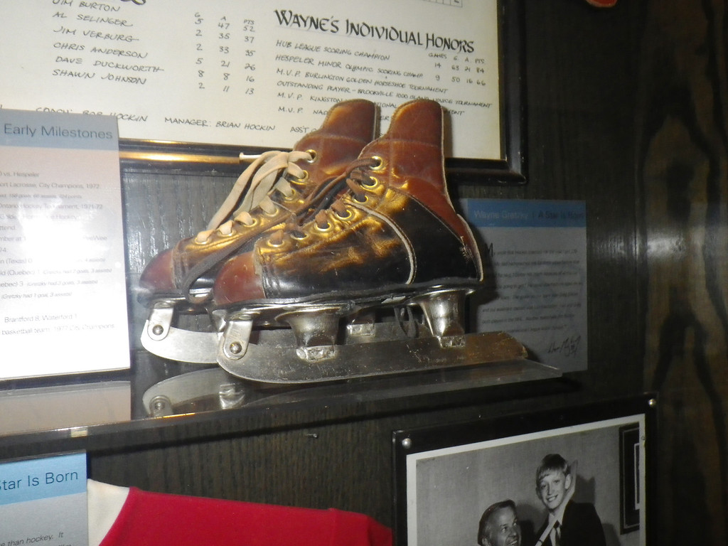 Description of . Janet Podolak/JPodolak@News-Herald.comOn display at the back of his bar is memorabilia from Gretzky's hockey career, including a  pair of skates he wore as a boy while growing up not far from Toronto.