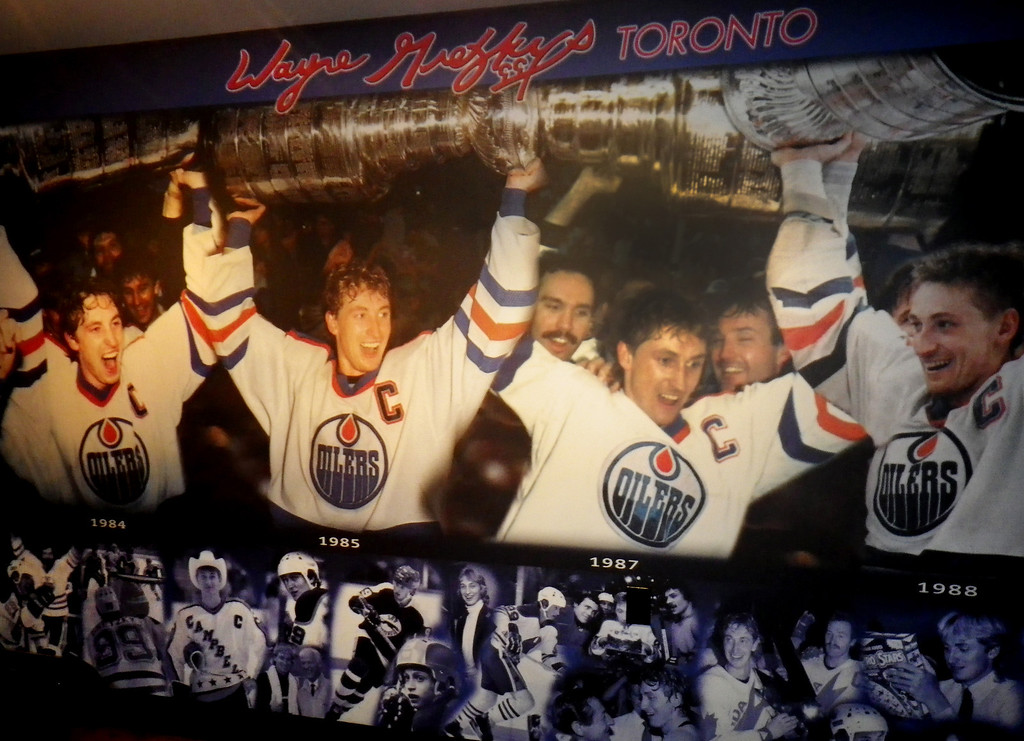 Description of . Janet Podolak/JPodolak@News-Herald.comGretzky and his Edmonton  Oilers teammates are shown celebrating a Stanley Cup win in a large photo mounted across the back of the bar.