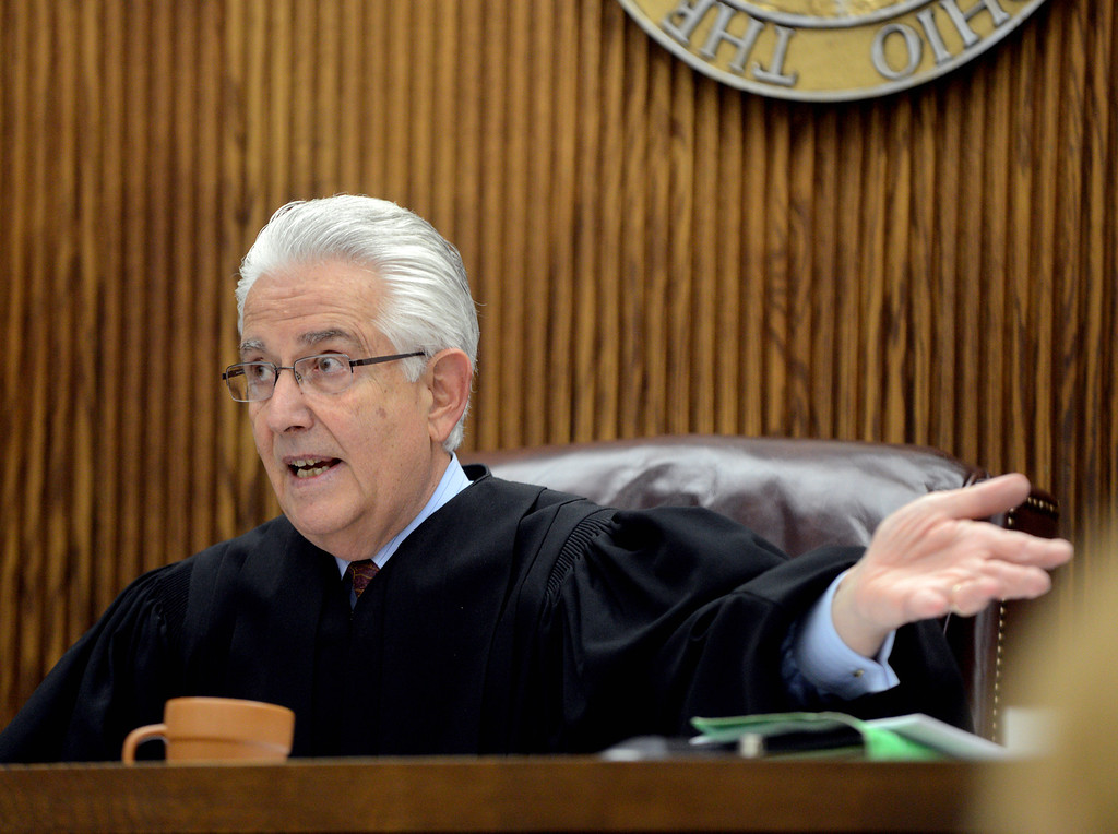 Description of . Duncan Scott/DScott@News-Herald.com Lake County Common Pleas Court Judge Joe Gibson speaks to attorneys on June 9, 2014, day six of Kevin Knoefel's trial on a charge of conspiracy to commit aggravated murder.