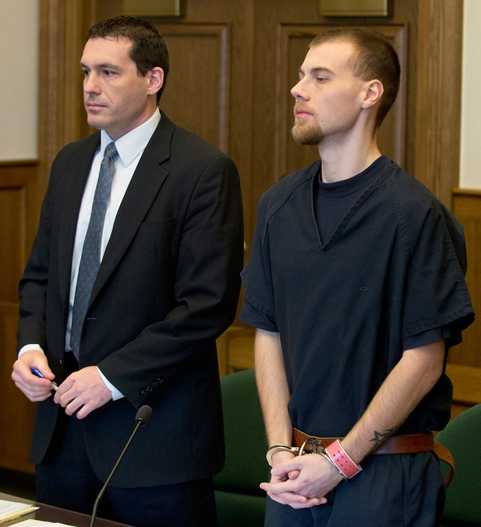 Description of . Duncan Scott/DScott@News-Herald.com Nathaniel Brown and his defense attorney Matthew Bangerter appear at a hearing on January 24, 2014 In Lake County Common Pleas Court to argue that an accident re-constructionist scheduled to testify at his upcoming murder retrial is not qualified as an expert.