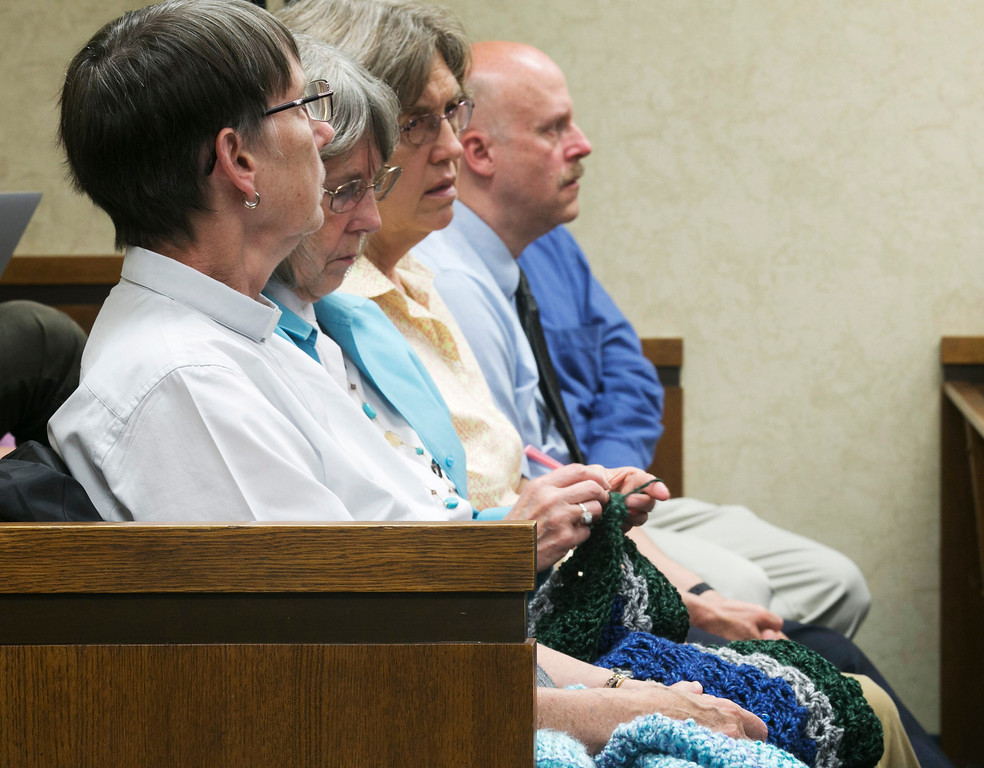 Description of . Michael Allen Blair/MBlair@News-Herald.com Supporters for Kevin Knoefel knit during Knoefel's murder conspiracy trial in Lake County Common Pleas Court on  June 4, 2014.