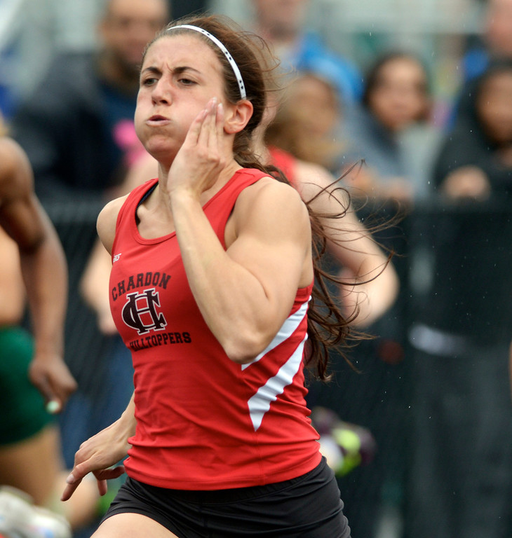 Description of . Jeff Forman/JForman@News-Herald.com Stephanie Ferrante, Chardon, wins a preliminary flight of the girls 100 meter dash during the Mayfield 2014 Track and Field Invitaional May 9 at Mayfield High School.