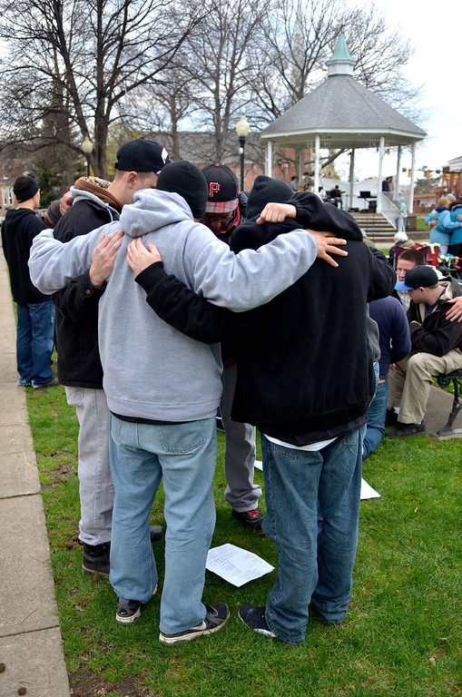 Description of . Jeff Forman/JForman@News-Herald.com Participants in a National Day of Prayer observance break into small prayer groups near the end of the event May 1 in Painesville.