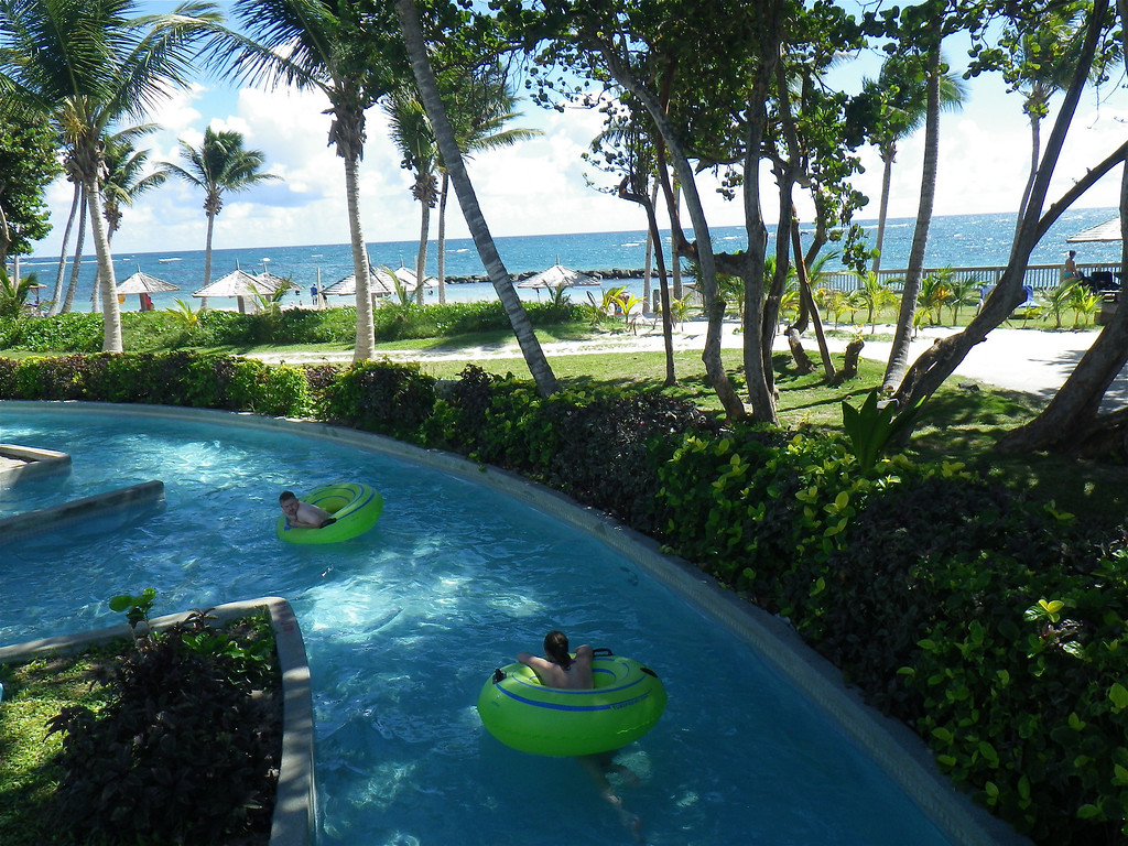 Description of . Janet Podolak/JPodolak@News-Herald.com<p>                                                                               A breeze from the sea and shade from coconut palms makes it difficult to ever leave the pleasure of floating along the lazy river.