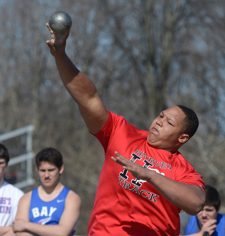 Description of . Maribeth Joeright/MJoeright@News-Herald.com<p> Harvey's Reggie Browley throws in the shot put event during the Hilltopper Invitational track meet at Chardon High School, April 12, 2014. Browley won the event with a throw of 52'6