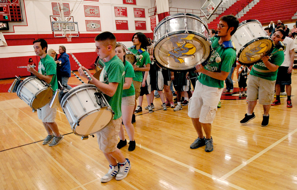 Description of . Jeff Forman/JForman@News-Herald.com  Wickliffe High School marching band drummers perform before Broadmoor School's game against area high school coaches March 24 at Mentor High School.