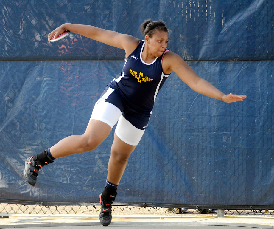 Description of . Maribeth Joeright/MJoeright@News-Herald.com<p> Euclid's Rashida Harris winds up for her discus throw during the Division I regional final meet at Austintown Fitch High School.