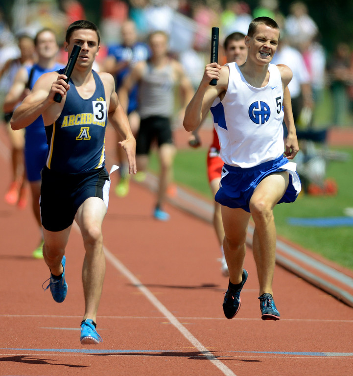 Description of . Maribeth Joeright/MJoeright@News-Herald.com <p> Gilmour anchor Brandon Phillips makes a valient attempt at second place but the team finished third in the Division III boys 4X400 meter relay during the state track and field championship meet in Columbus, June 7, 2014. Gilmour also was runner up in the DIII team title.