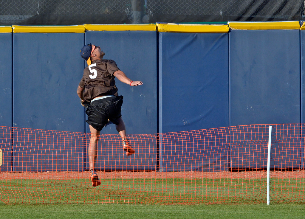 Description of . Jeff Forman/JForman@News-Herald.com Jordan Poyer hops over the fence to chase a home run during the Joe Haden and Friends Softball Game July 17 at Classic Park.