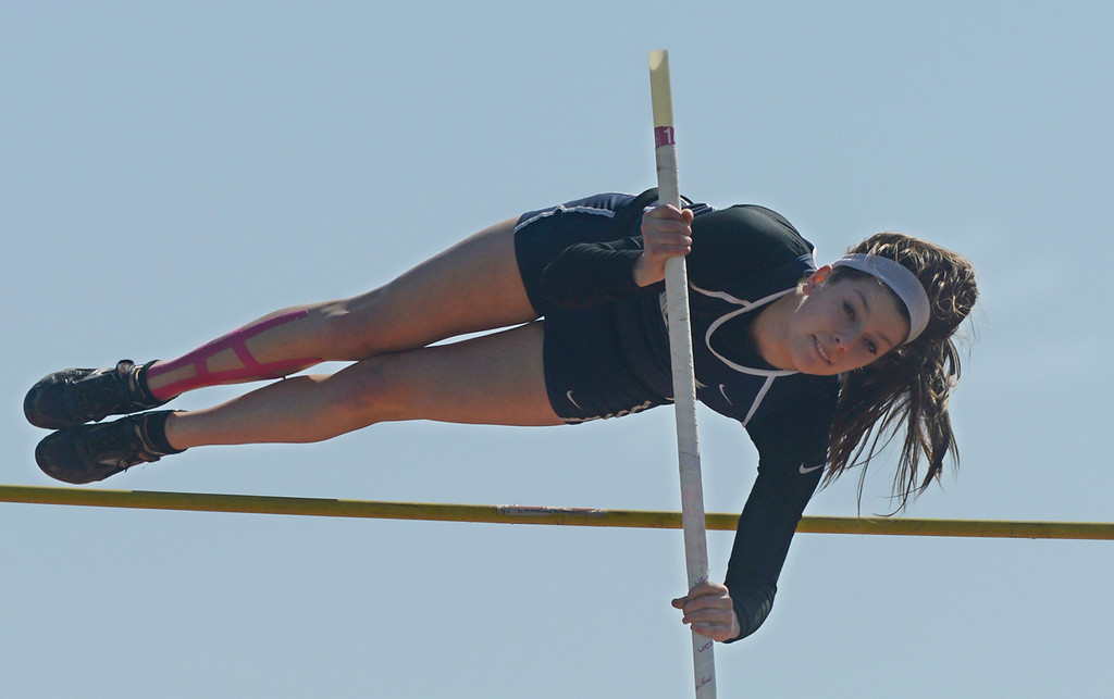 Description of . Maribeth Joeright/MJoeright@News-Herald.com West Geauga's Audrey Rabe clears 11 ft in the girls pole vault event during the Hilltopper Invitational track meet, April 12, 2014. Rabe won the event and then successfully vaulted at a height of 11'7