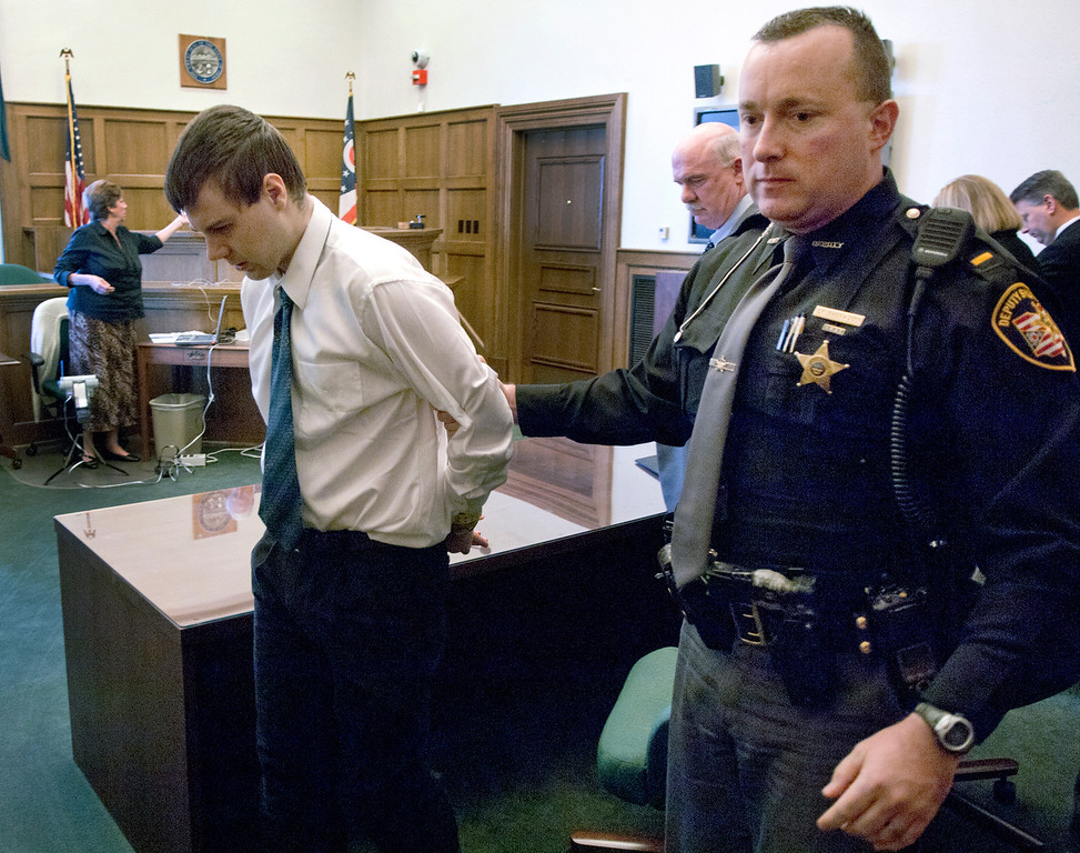 Description of . Duncan Scott/DScott@News-Herald.com Nathaniel Brown is led out of Lake County Common Pleas Court by Sheriff's Lt. Jeffrey Sherwood on November 21, 2011 after a jury convicted Brown of murdering William Andrew Fayne Putzbach.