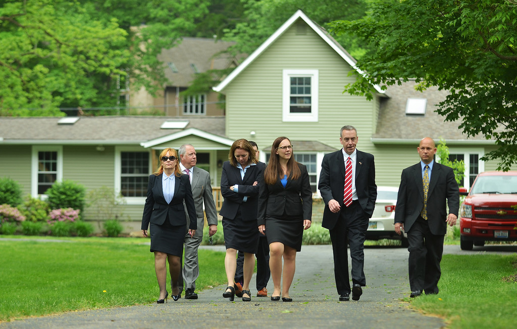 Description of . Michael Allen Blair/MBlair@News-Herald.com Attorney's leave the Knoefel residence on Chagrin Dr. in Willoughby Hills after a jury view during Kevin Knoefel's conspiracy trial in Lake County Common Pleas Court on  June 2, 2014.
