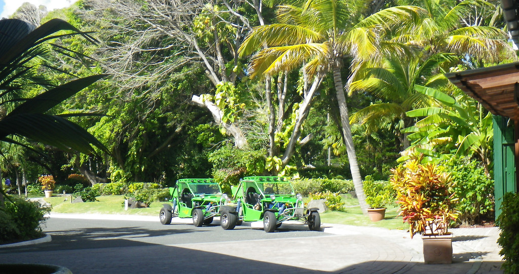 Description of . Janet Podolak/JPodolak@News-Herald.com<p>                                                                           Dune buggies await off the Coconut Bay lobby for guests who have signed up for off-road back country tours.