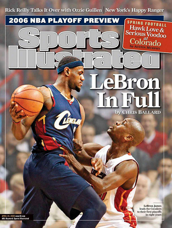 Description of . LeBron James Sports Illustrated cover.