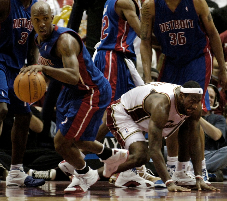 . Ken Blaze/KBlaze@News-Herald.com Detroit\'s Chauncey Billups steals the ball from LeBron James in the second half Friday at the Q