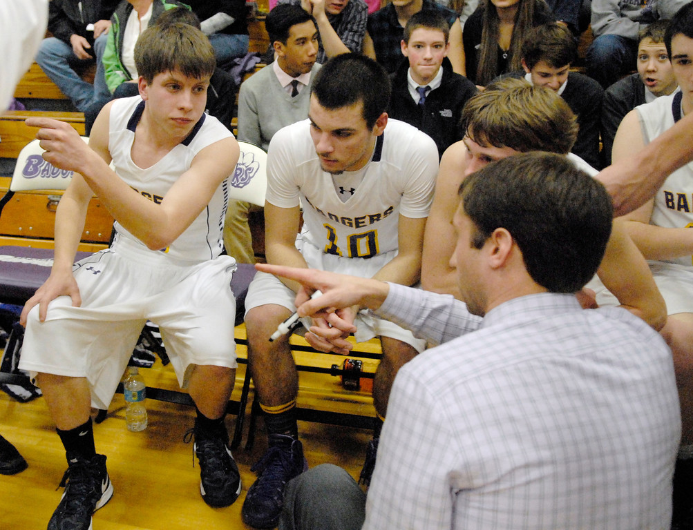 . Jeff Forman/JForman@News-Herald.com Luke Freiling talks with Berkshire coach Keith Clapacs before entering the game in the second quarter.