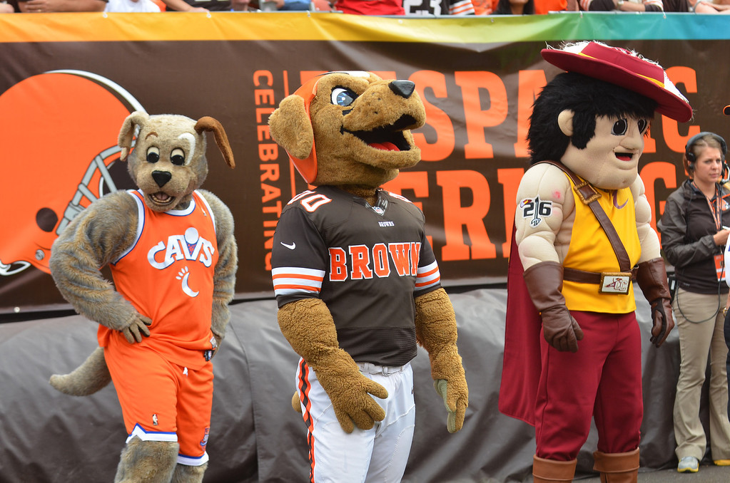. Michael Allen Blair/MBlair@21st-CenturyMedia.com Cleveland mascots check out the action versus the Bengals at FirstEnergy Stadium in Cleveland, OH. on Sunday, September 29, 2013.