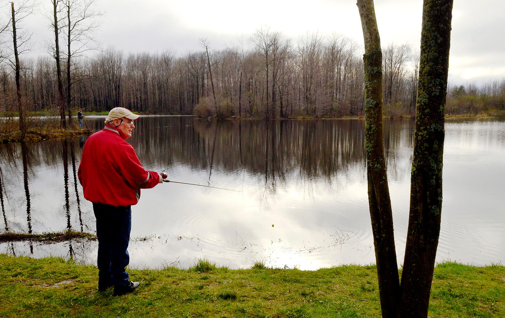 . Jeff Forman/JForman@News-Herald.com Terry Pickman, of Willowick, casts his line during the Lake Metroparks Fantastic Fishing program for people with disabilities April 30 at Hidden Lake in Leroy Township.