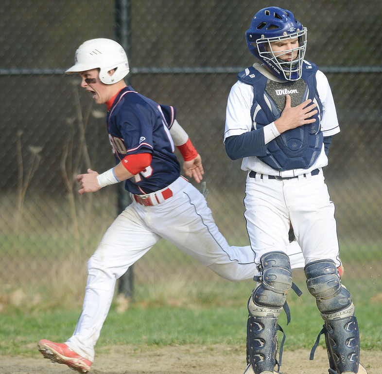 . Maribeth Joeright/MJoeright@News-Herald.com Kenston\'s Adam Bush scores in the fifth inning putting the game out of reach for West Geauga High School. Kenston won the game in five innings by a score of 16-3.