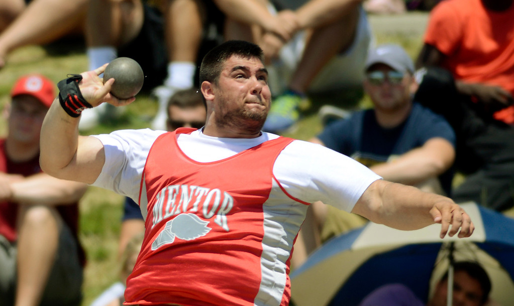 . Maribeth Joeright/MJoeright@News-Herald.com <p> Mentor\'s John Maurins takes second place in the Division I boys shot put event during the state track and field championship meet in Columbus,  June 7, 2014.