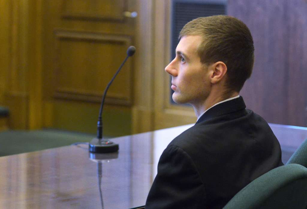 . Jeff Forman/JForman@News-Herald.com Nathaniel Brown waits in Lake County Common Pleas Court Feb. 21 to hear his verdict on charges in the killing of William Andrew Fayne Putzbach.