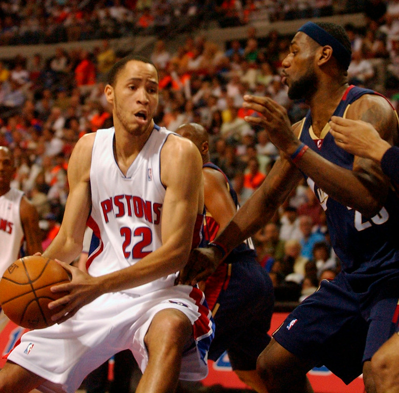 . Tayshaun Prince (22) of the Detroit Pistons drives to the rim as LeBron James (23) of the Cleveland Cavaliers defends during Sunday\'s second round game one at the Palace of Auburn Hills. The Oakland Press/CHARLIE CORTEZ