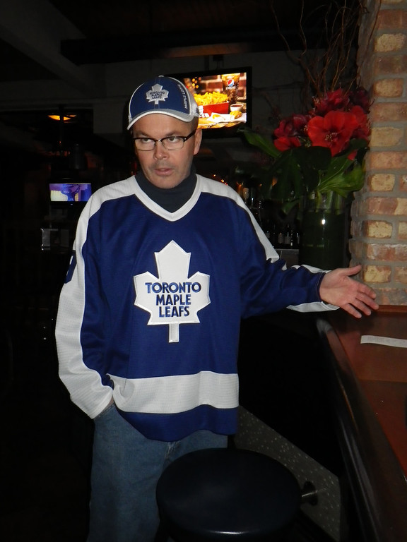 . Janet Podolak/JPodolak@News-Herald.com Longtime Leafs fan Brian Murray drove three hours for a game he will watch on TV at Gretzky�s. He�d rather his team win the Stanley Cup then see Team Canada take the Olympic Gold