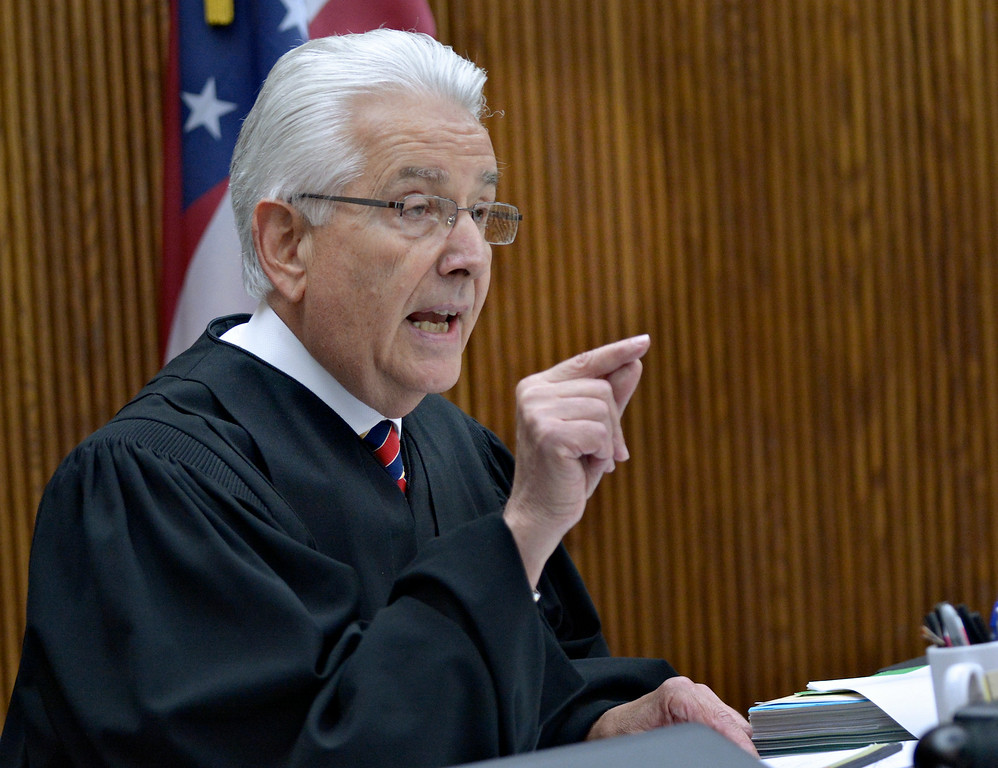 . Jeff Forman/JForman@News-Herald.com Lake County Common Pleas Judge Joe Gibson responds to a comment by defense attorney Michael Connick during Kevin Knoefel\'s sentencing Aug 6.