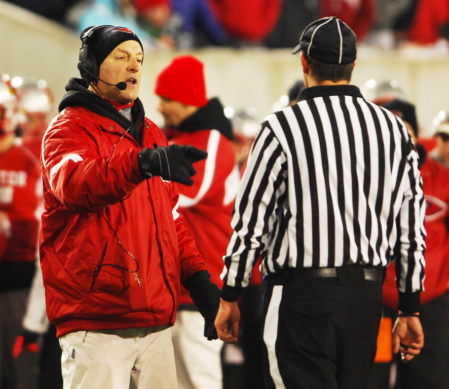 . Michael Allen Blair/ MBlair@News-Herald.com Mentor head coach Steve Trivisonno questions a hit on wide receiver Jake Berardinelli in the end zone during the fourth quarter of Saturday\'s Div. I state championship game at Fawcett Stadium in Canton.