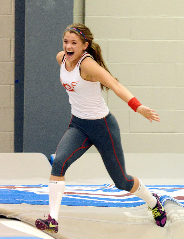 ". Maribeth Joeright/MJoeright@News-Herald.com<p> Geneva\'s Ally Thompson reacts after clearing 11\'9"" to break the area record in girls pole vault during the PAC meet at SPIRE Institute, May 15, 2014. Thompson eventually cleared 12 ft."